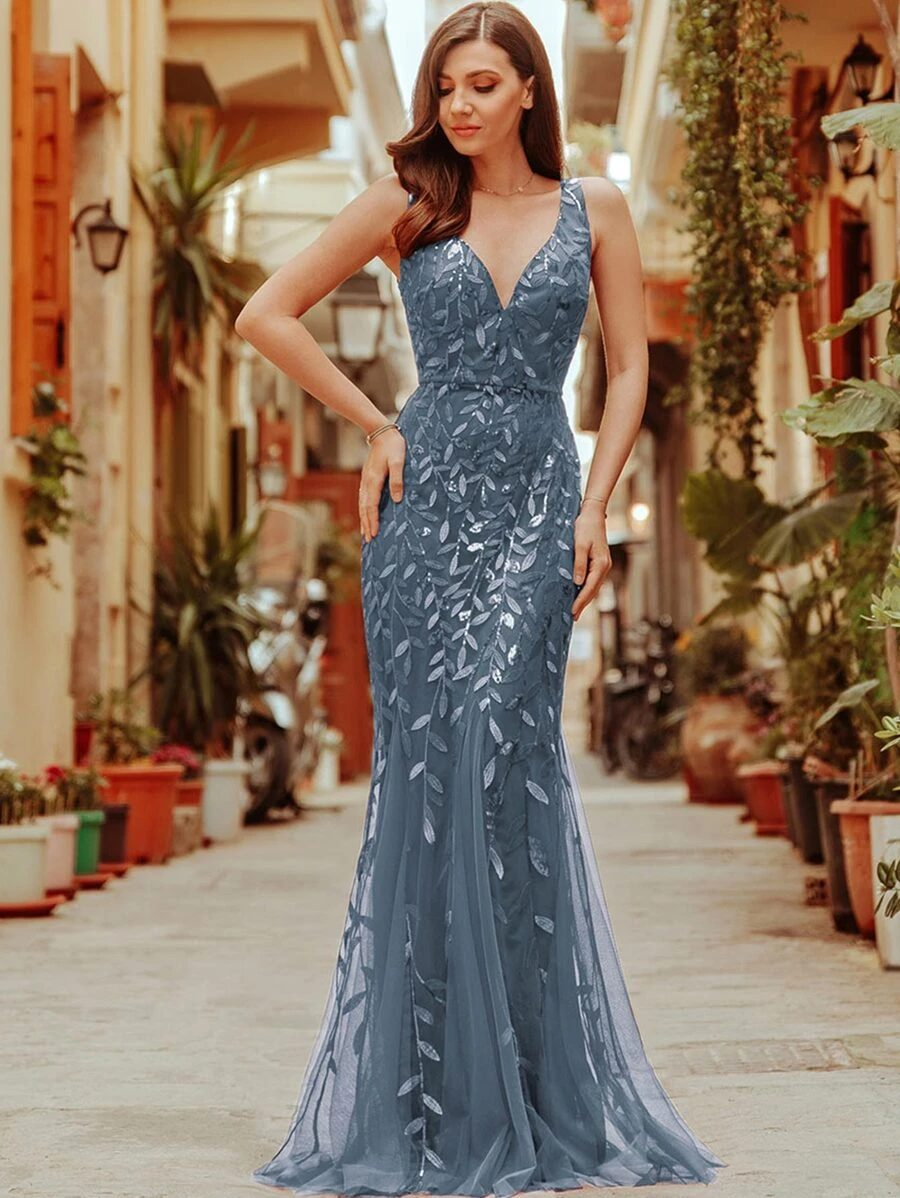 Dusty blue prom dress with embroidery and sequins
