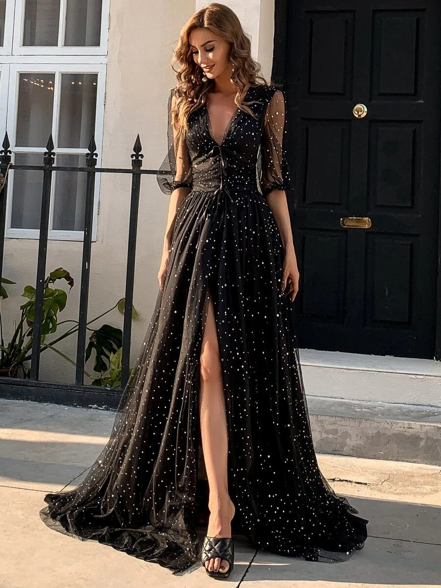 Long black dress with mesh and sequins