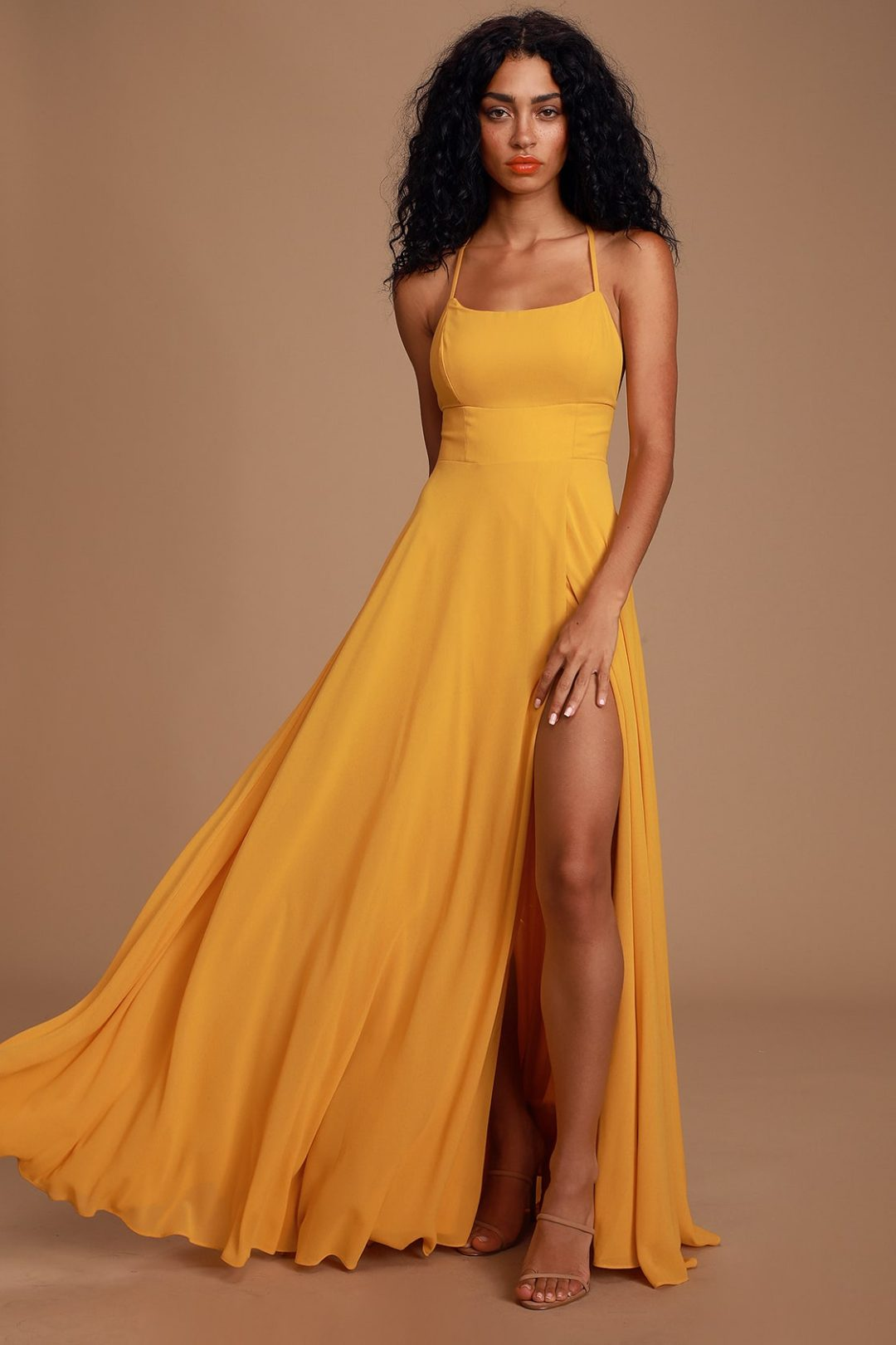 Mustard yellow long ball gown with plit
