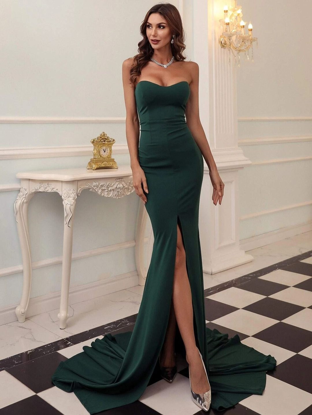 Emerald green prom dress with split and mermaid trail