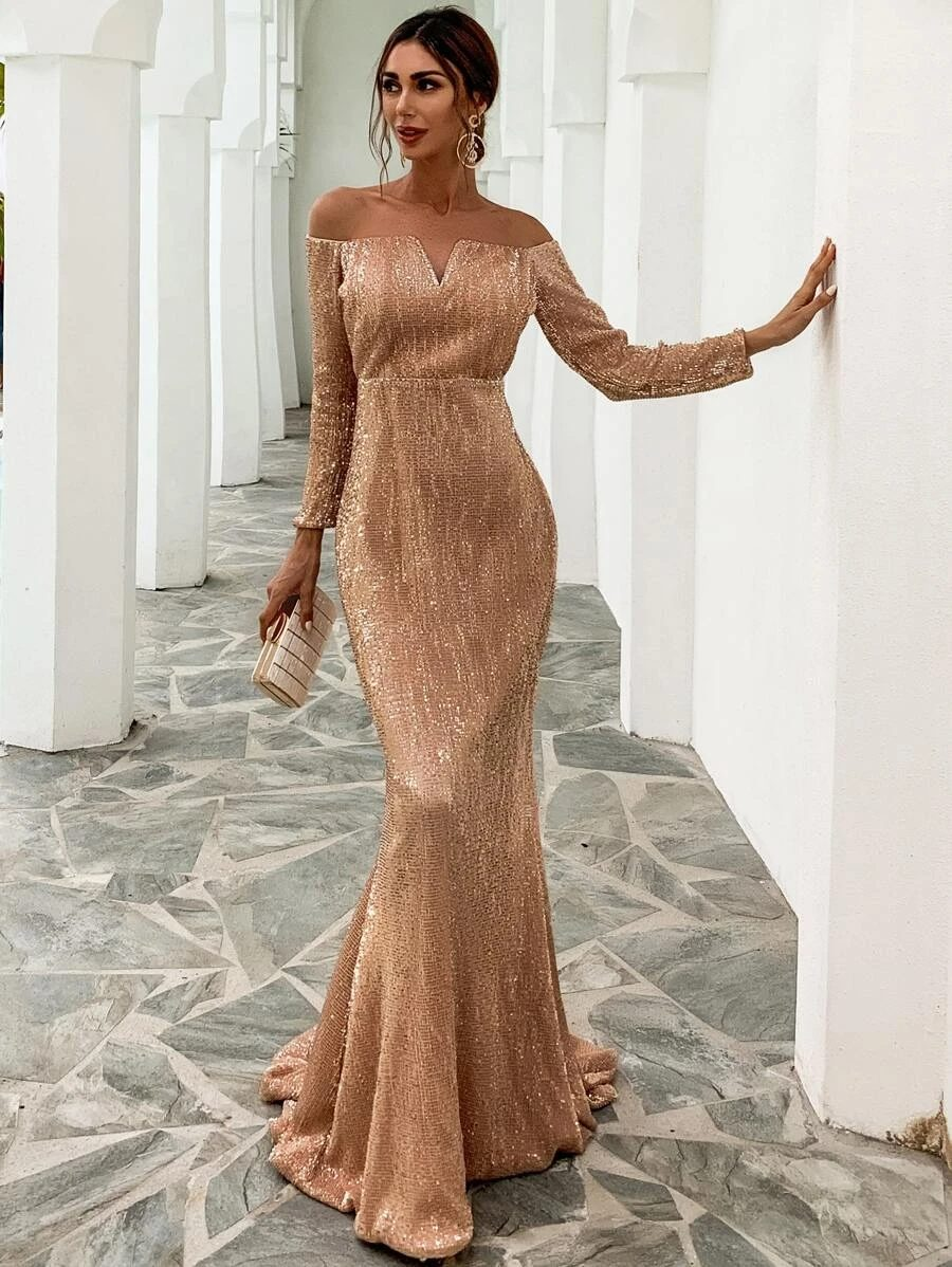 Off shoulder gold sequin prom dress with sleeves