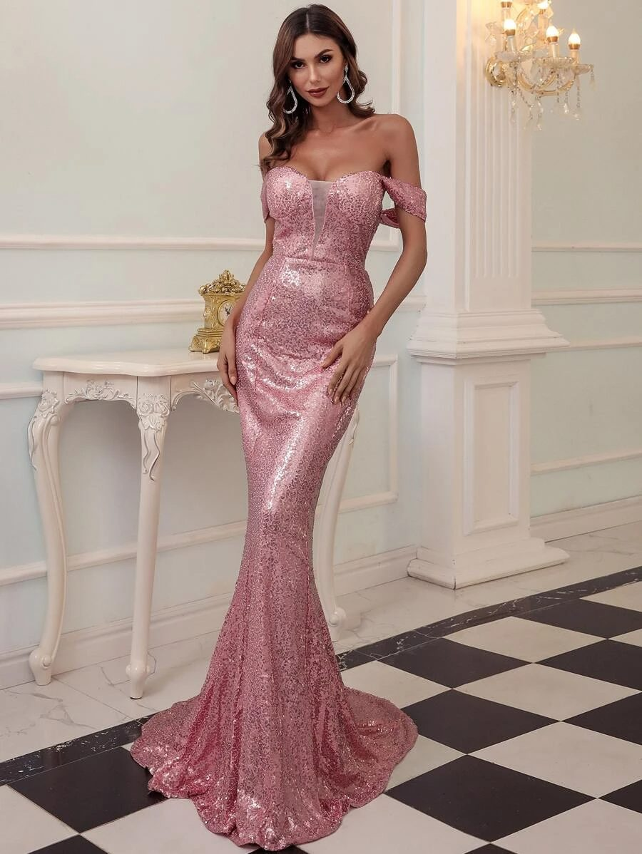 Affordable pink sequin dress with mermaid tail