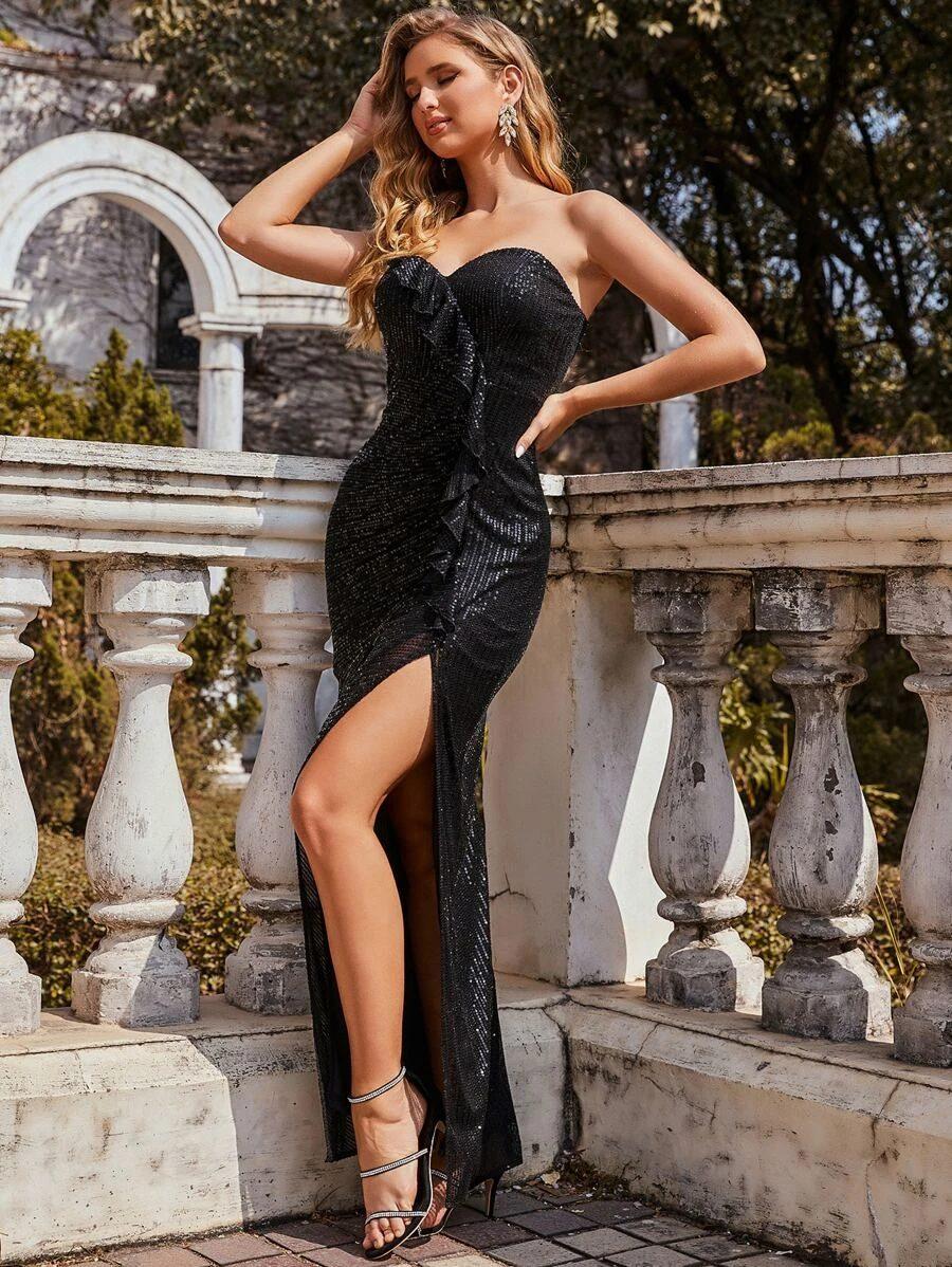 Black strapless sequin dress with thigh split