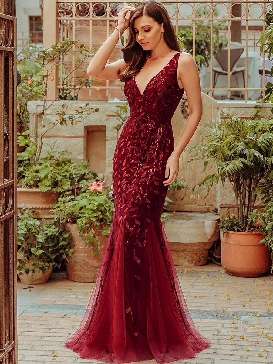 Burgundy red prom dress with sequins