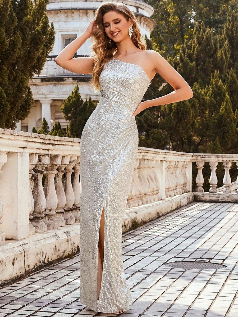 One shoulder silver sequin dress