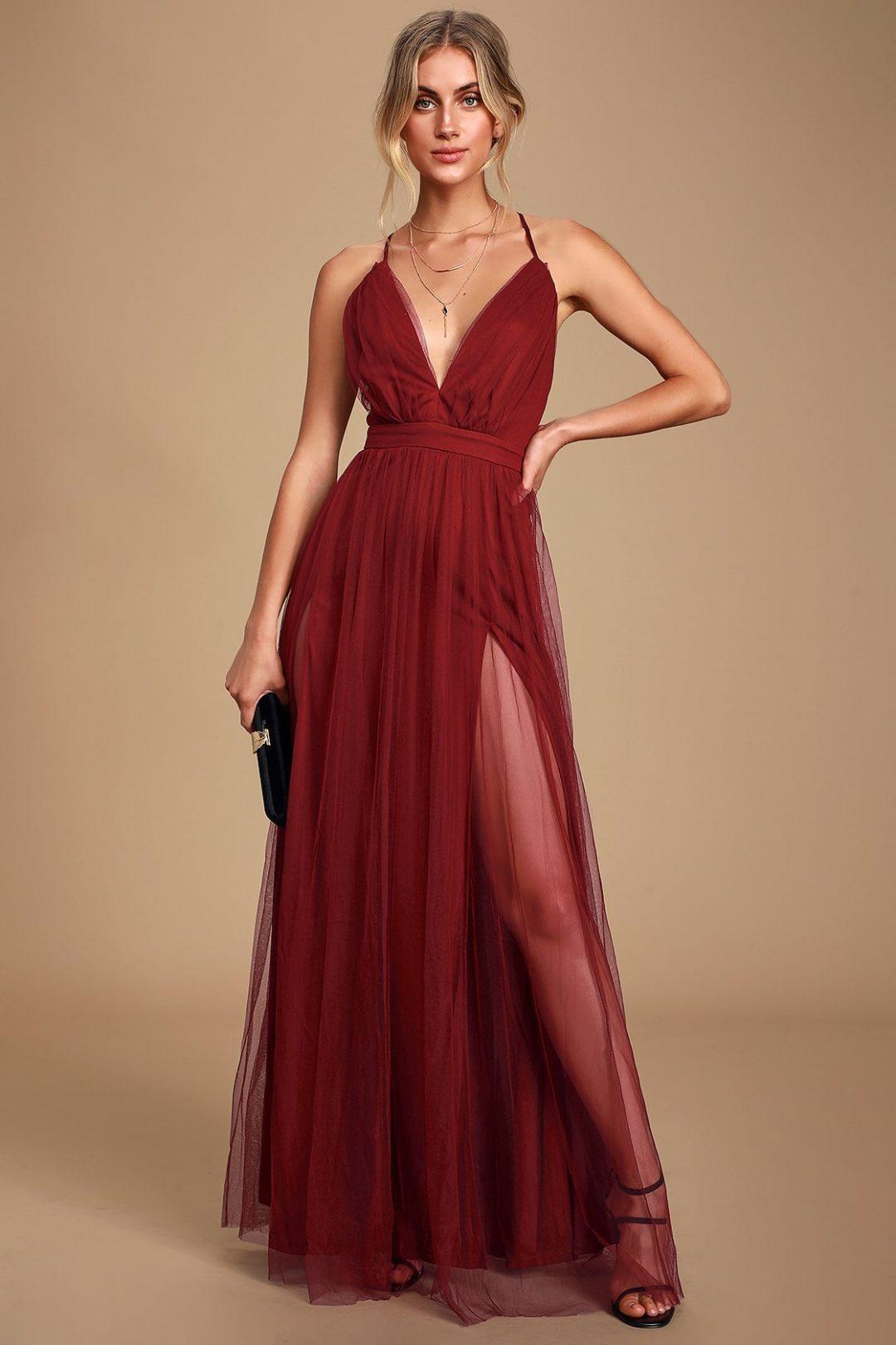 Burgundy long prom dress with thigh split