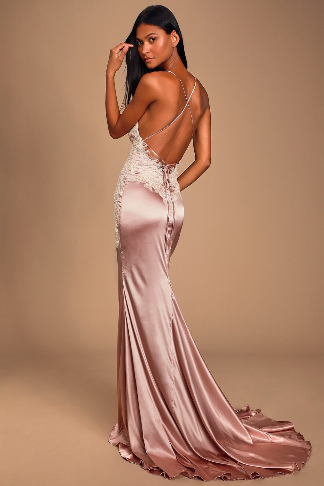 Backless satin pink and lace prom dress with long tail