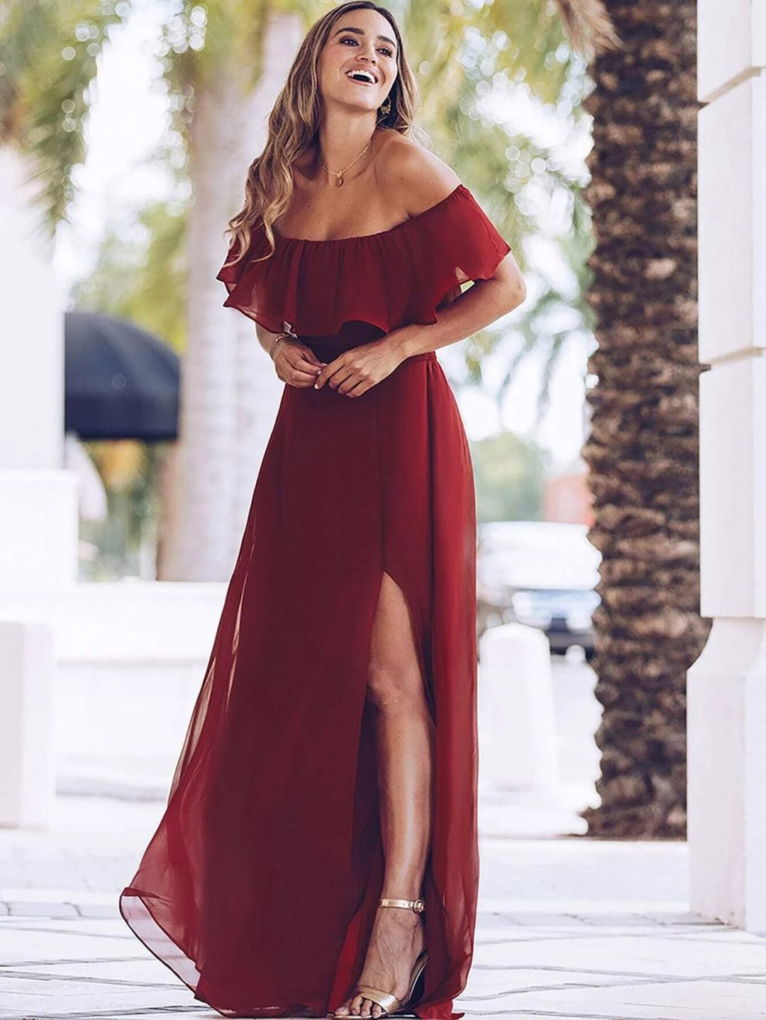 Red chiffon dress with slit and ruffles