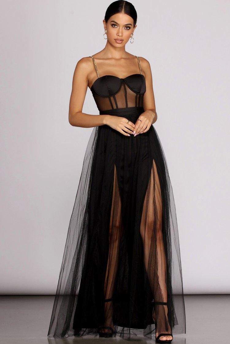 Black corset dress with slit