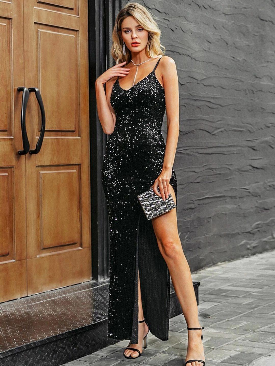 Black sequin prom dress with slit