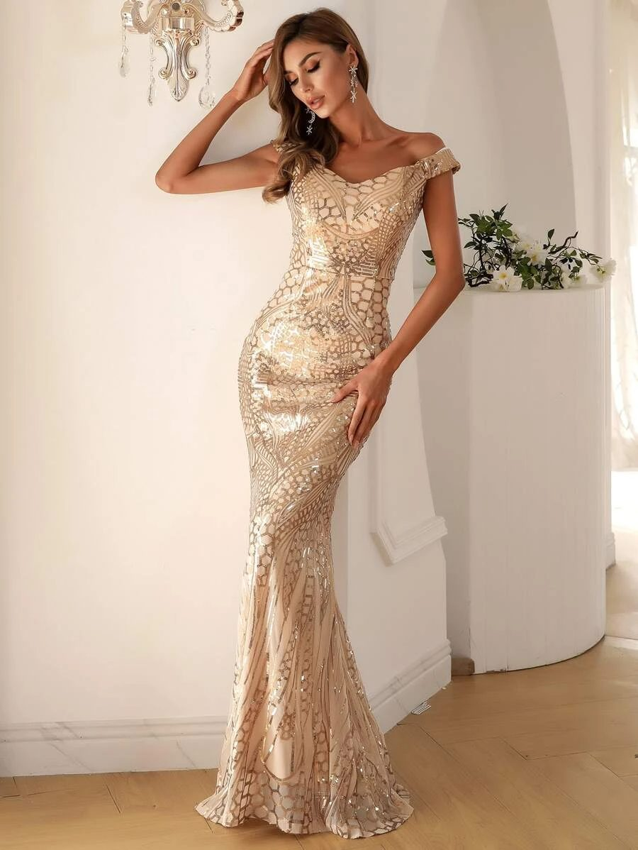 Gold prom dress with sequins