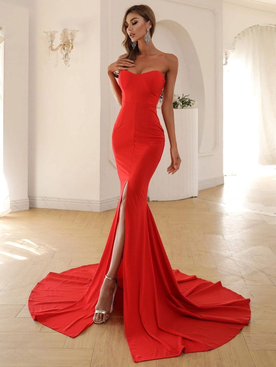 Affordable red prom dress with mermaid tail