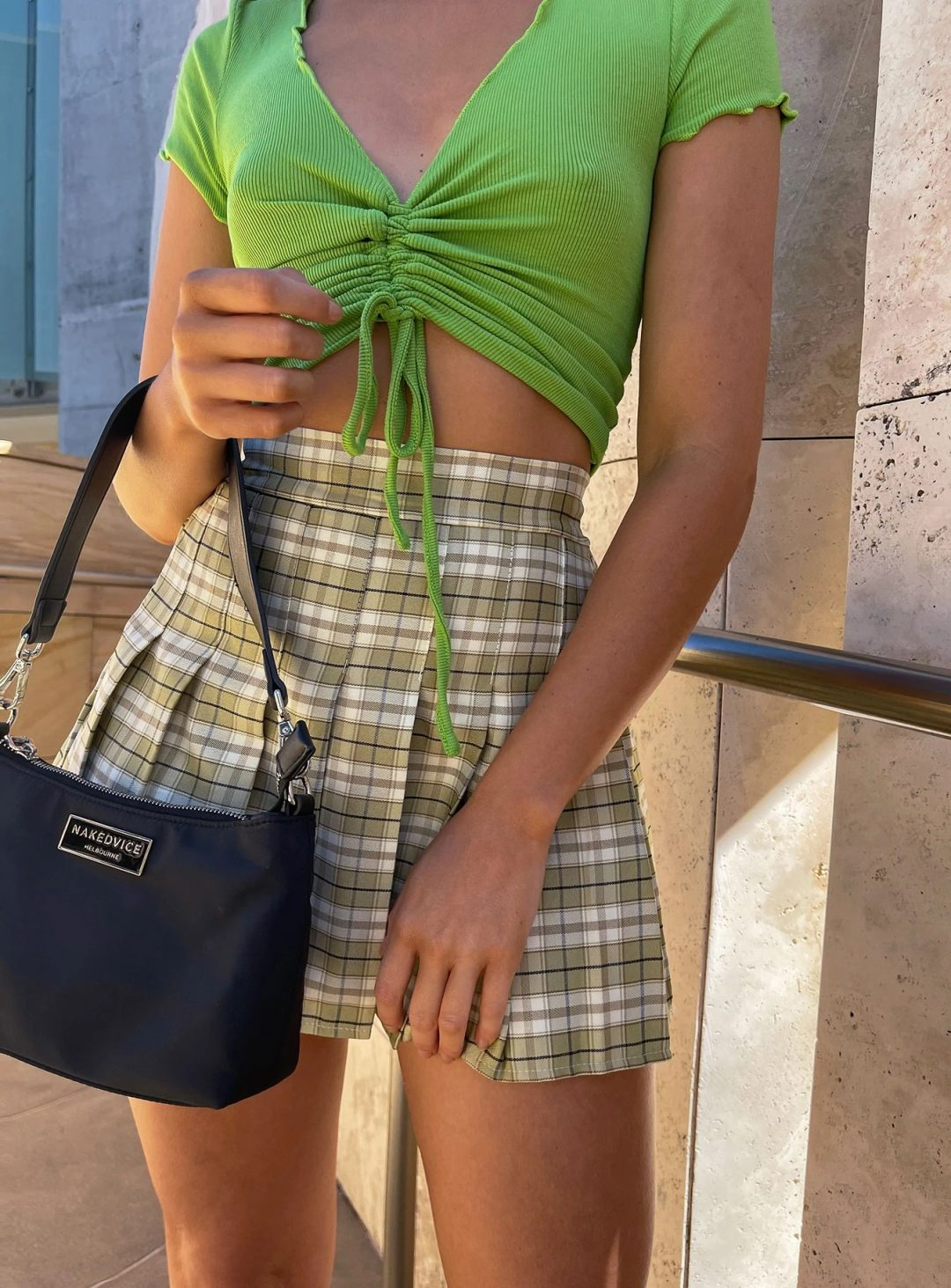 Green plaid mini skirt with crop top
