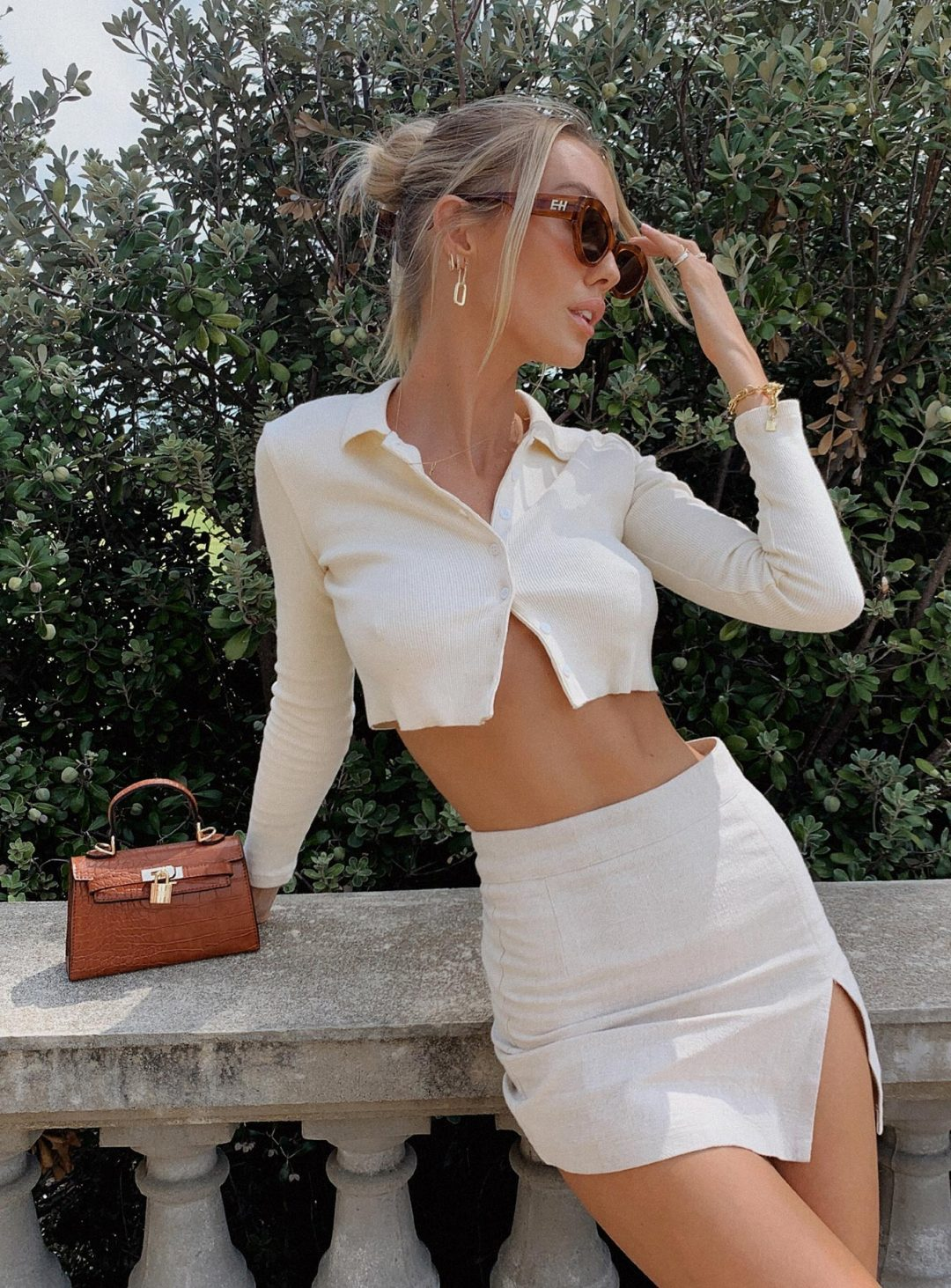 White skirt outfit with cropped cardigan