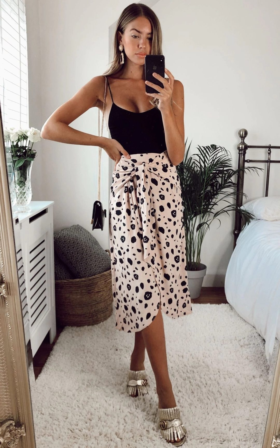 Neutral pattern midi skirt outfit