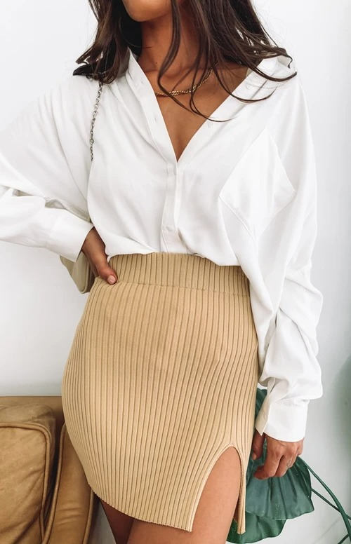 Cute beige ribbed skirt outfit