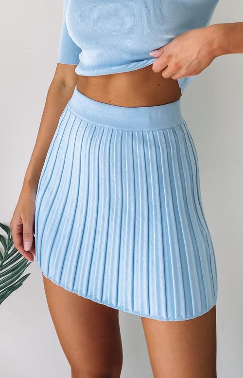 Cute blue tennis skirt outfits with ribbed skirt