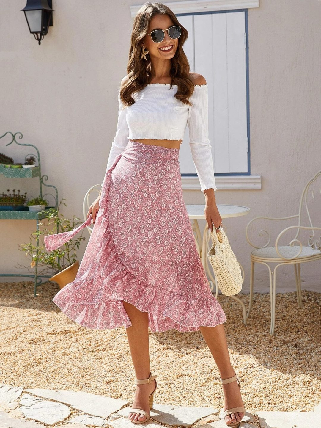 Pink flowy midi skirt with white crop top