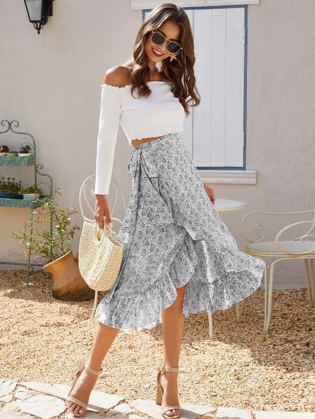 Blue flowy midi skirt with white crop top