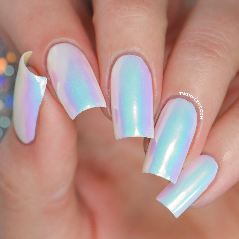 Holographic unicorn nails
