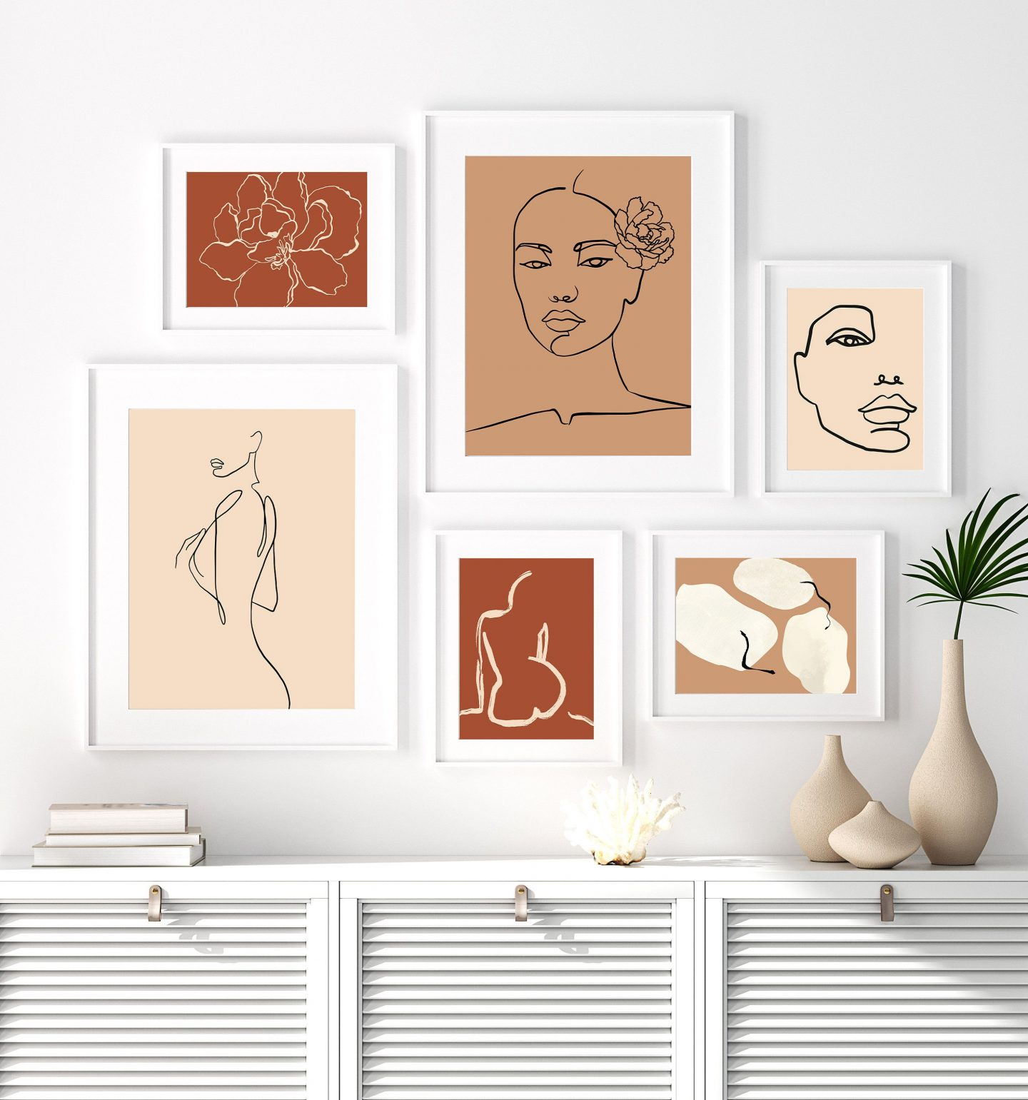 Bohemian wall decor art set with female figures in nude and brown tones
