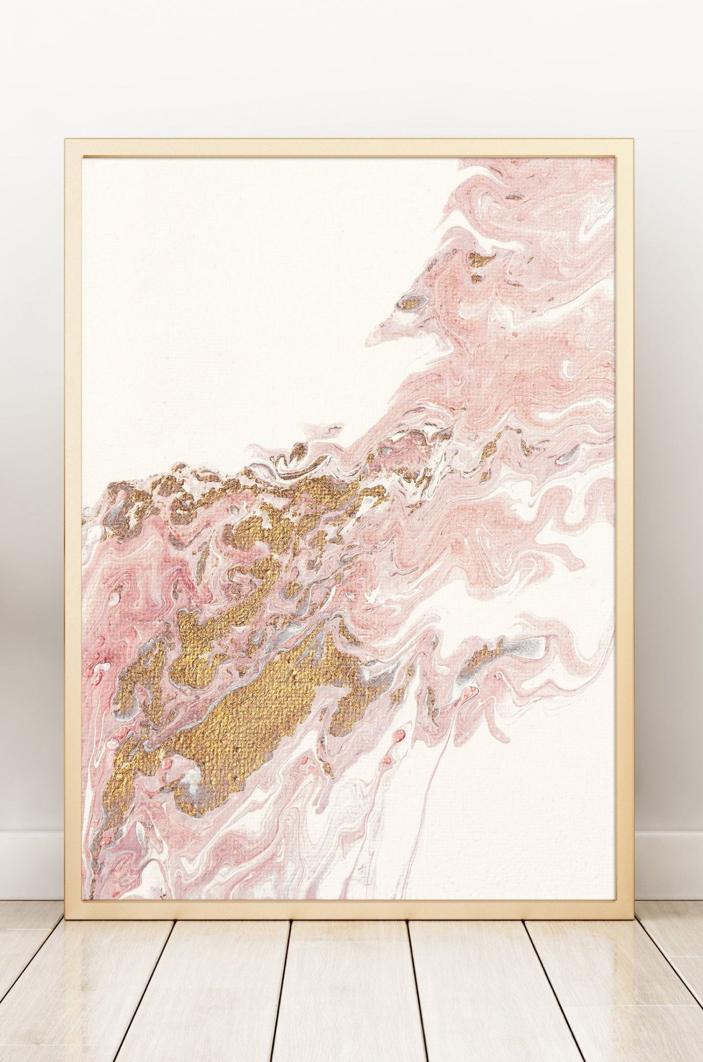 Pink and gold foil abstract wall decor