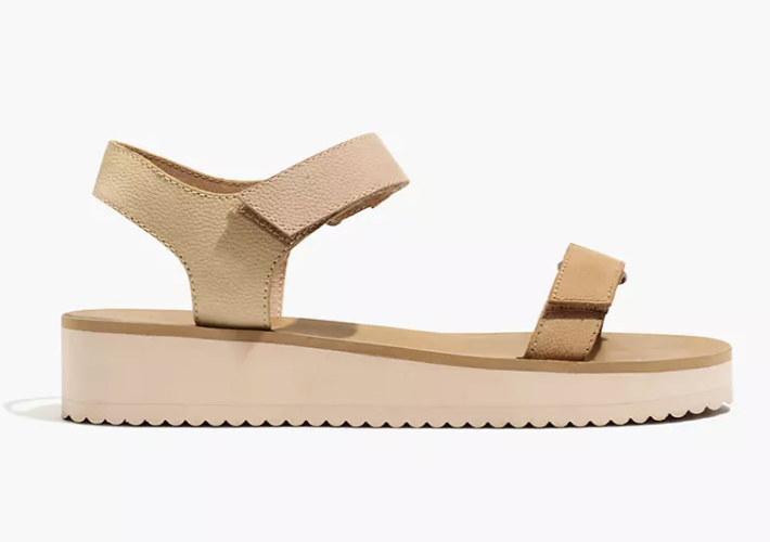 Casual beige sandals with platforms