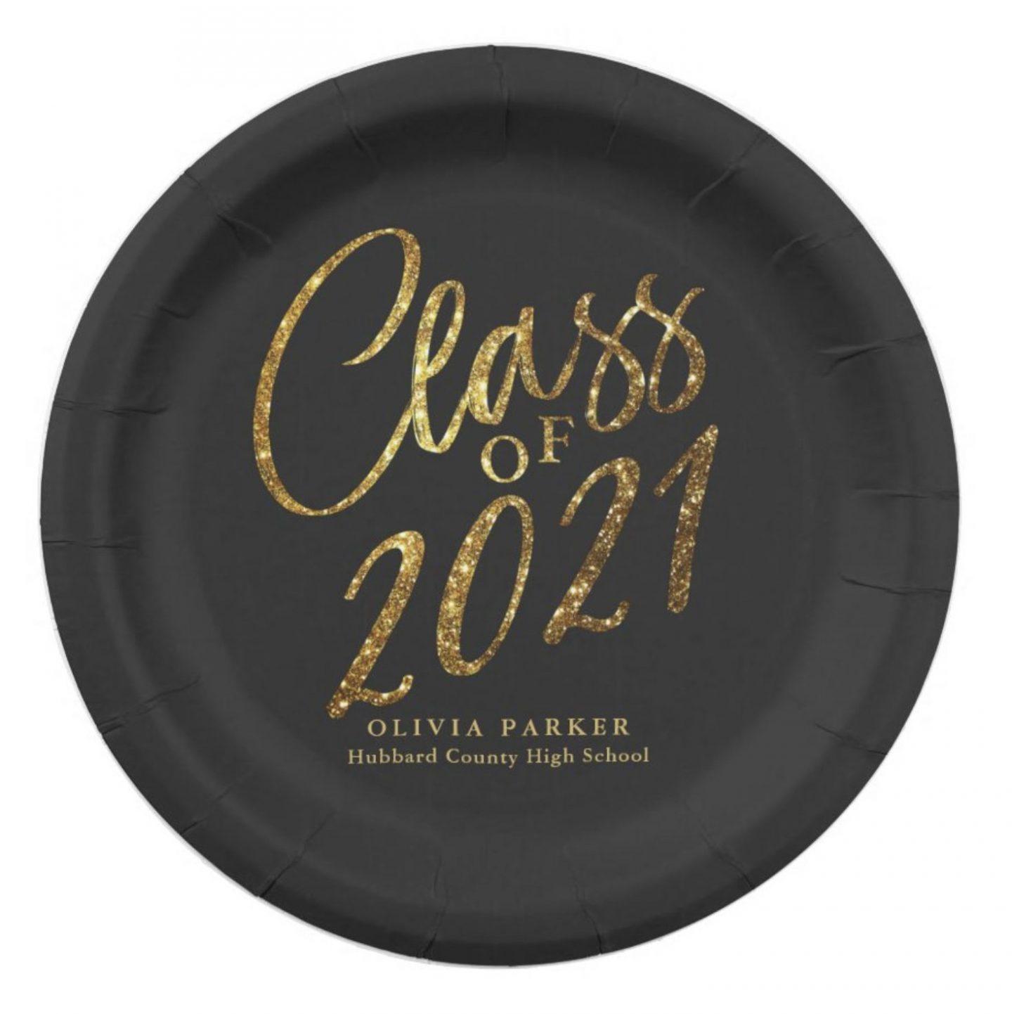 Black and gold graduation plates