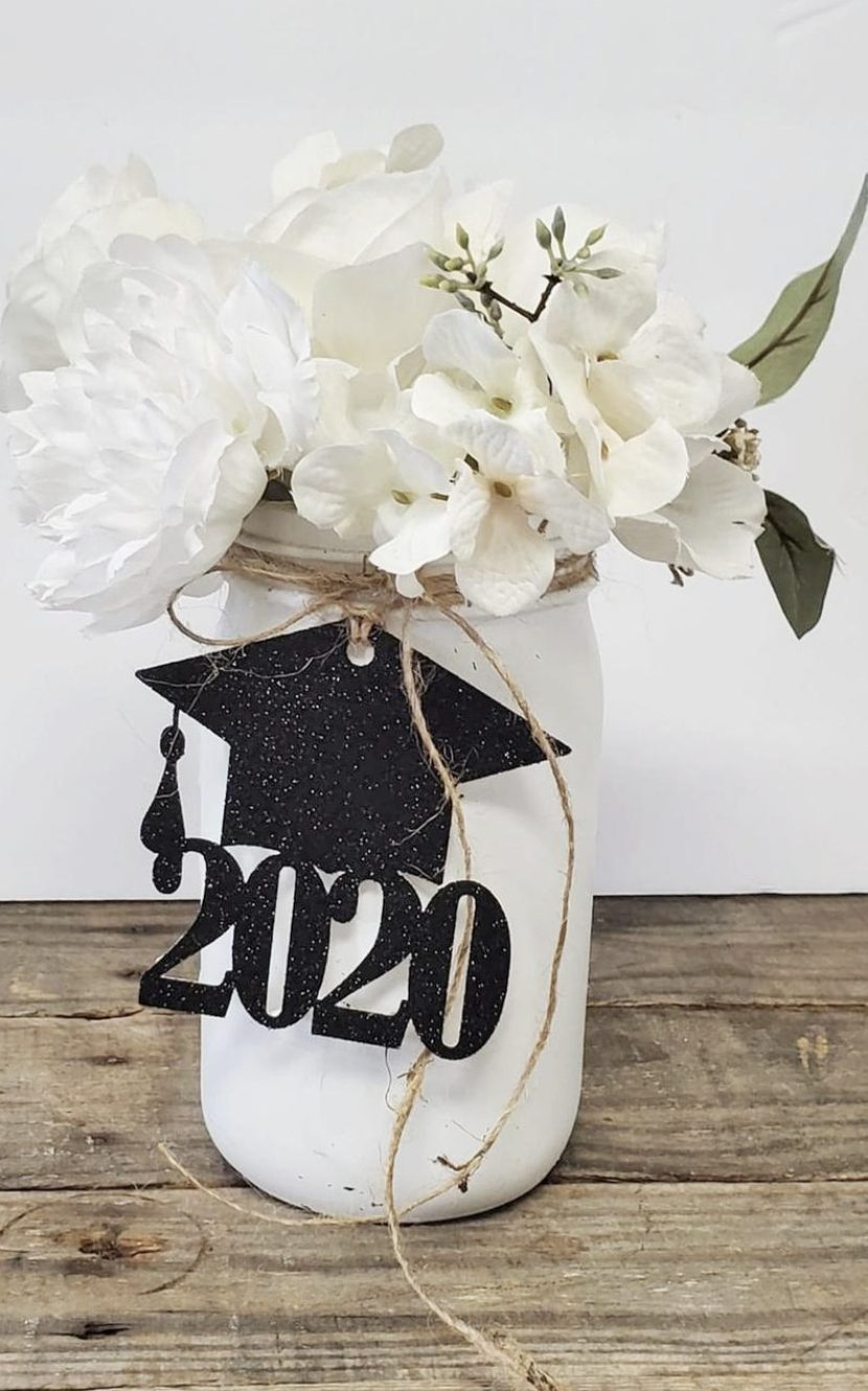 Graduation centerpieces with mason jar and tags