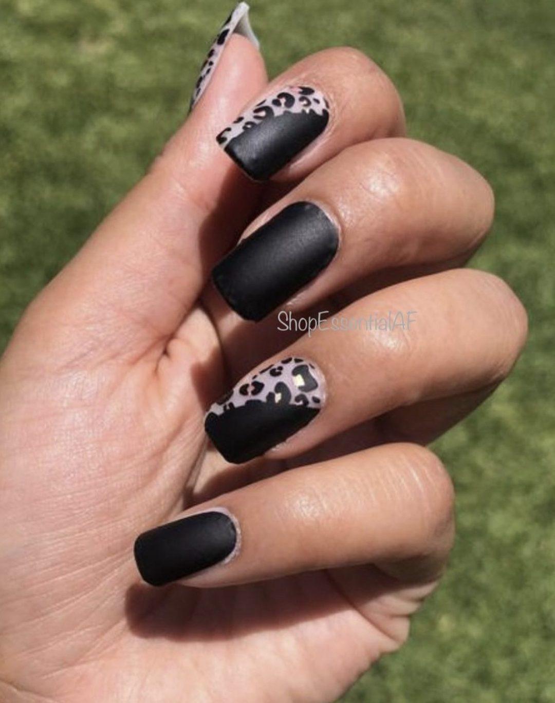 Short black and leopard nails