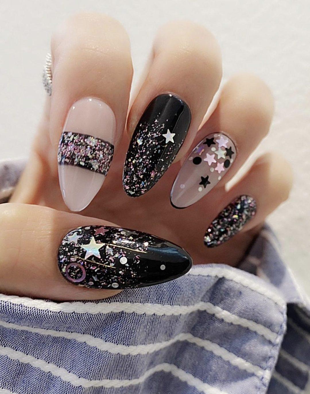 Black star glitter nails