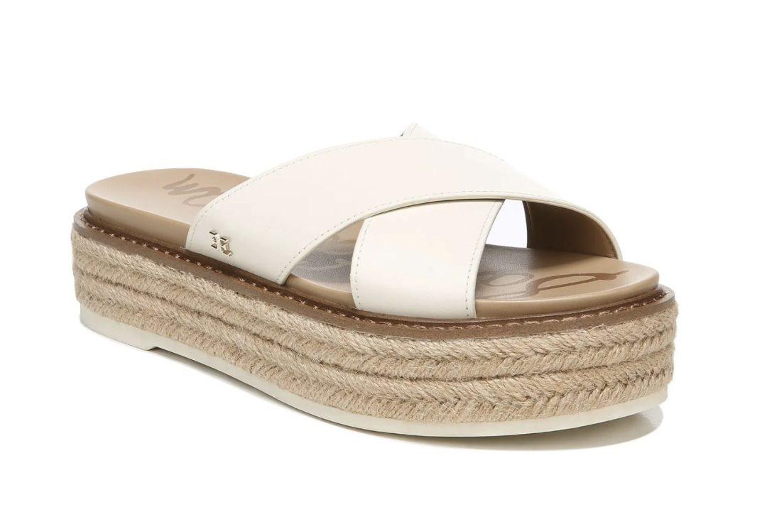 Beige platform espadrille sandals