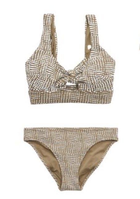 Beige jacquard two-piece bikini set