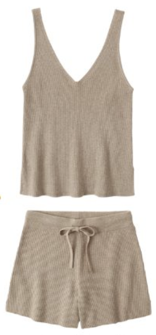 Matching beige lounging set with tank and shorts