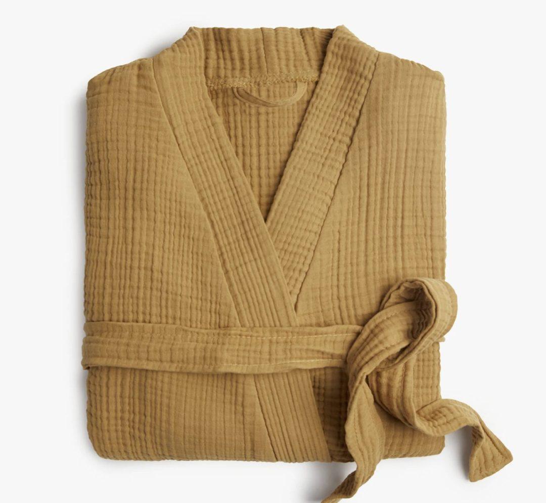 Tan cotton bath robe