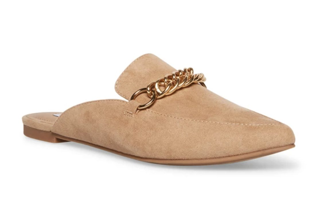 Tan suede mules with gold chain