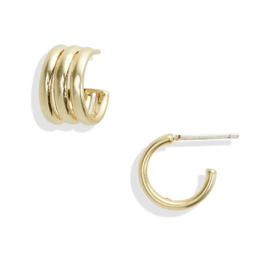 Minimalist gold hoop earrings