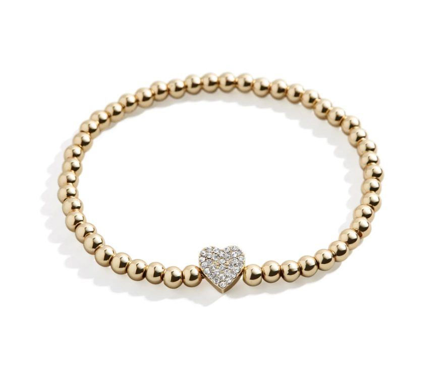 Beaded gold bracelet with crystal heart