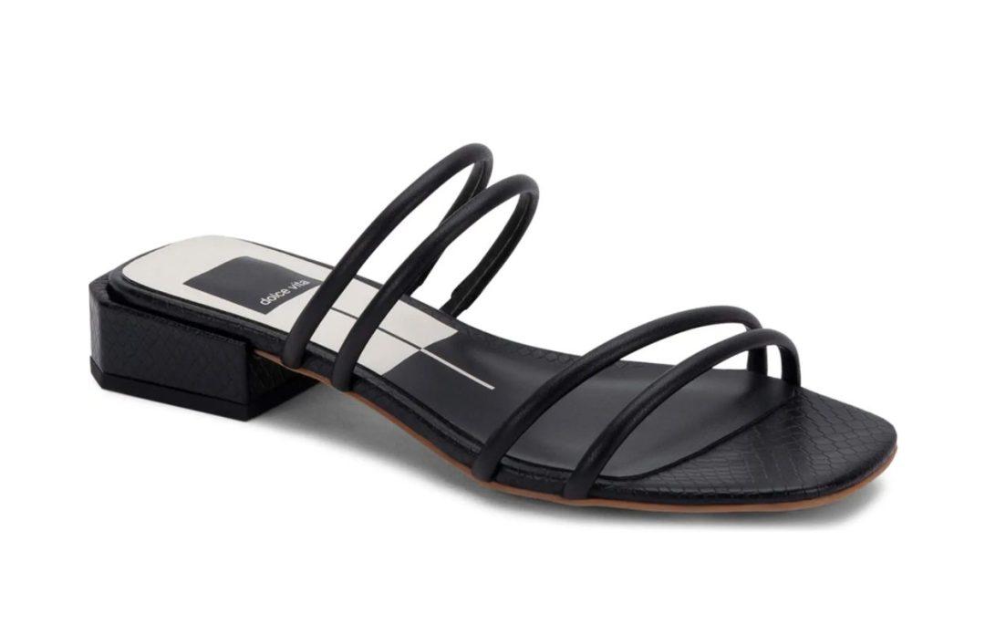 Black strappy sandals with block heel