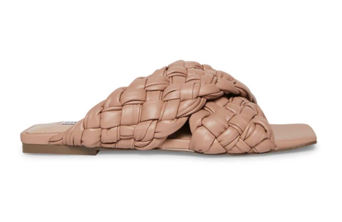 Beige braided slide sandals