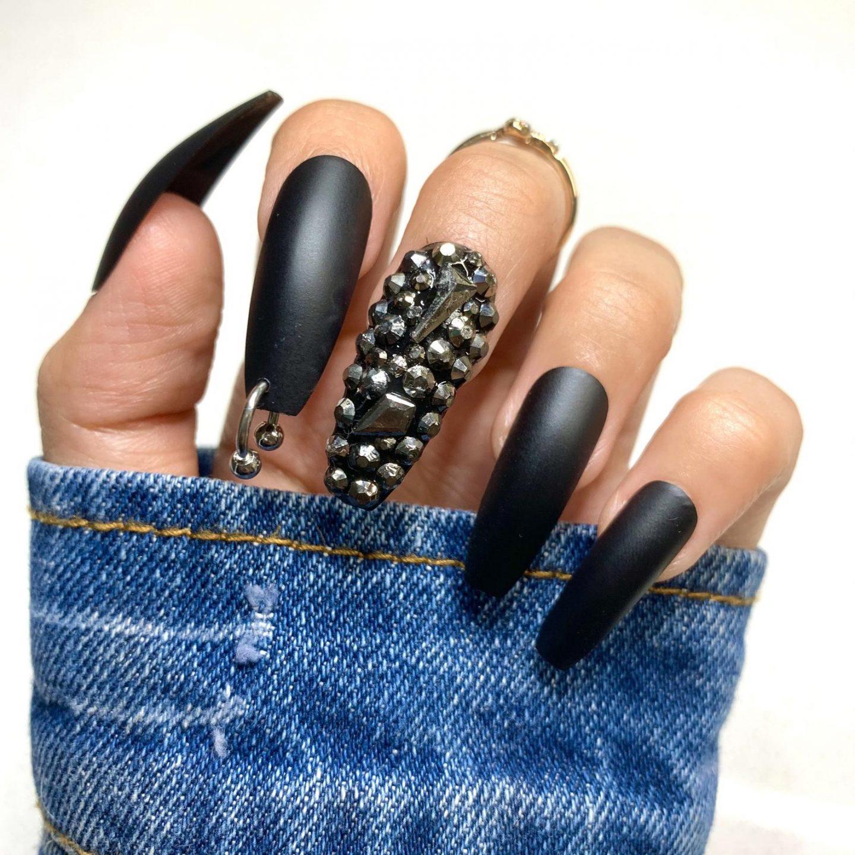 Gothic matte black nails with rhinestones