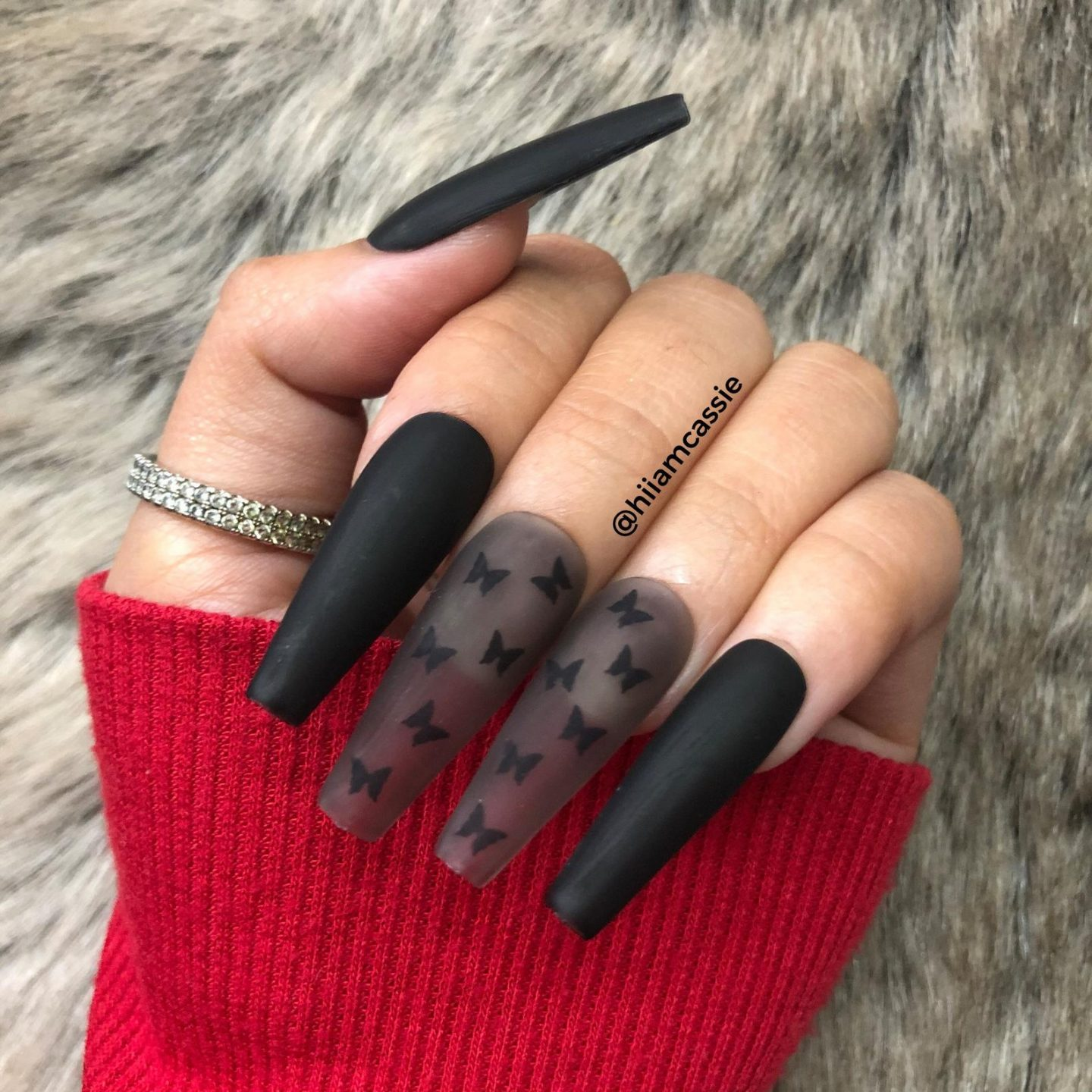 Black butterfly nails