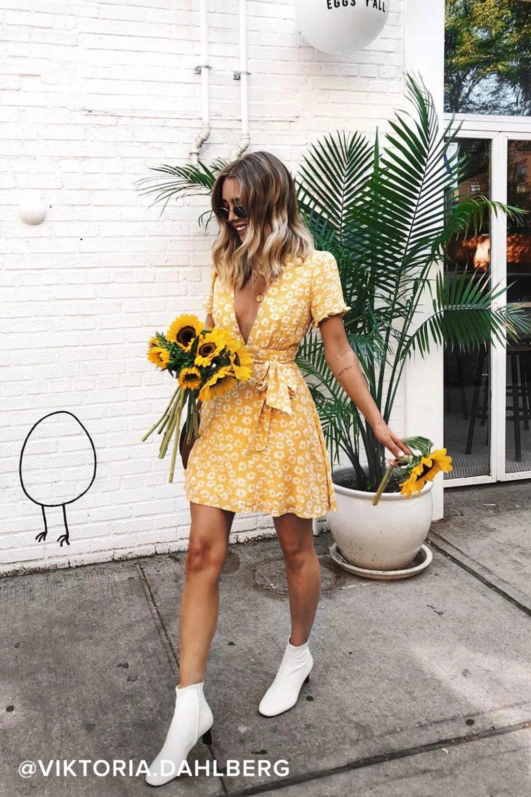 Yellow floral cottagecore dress