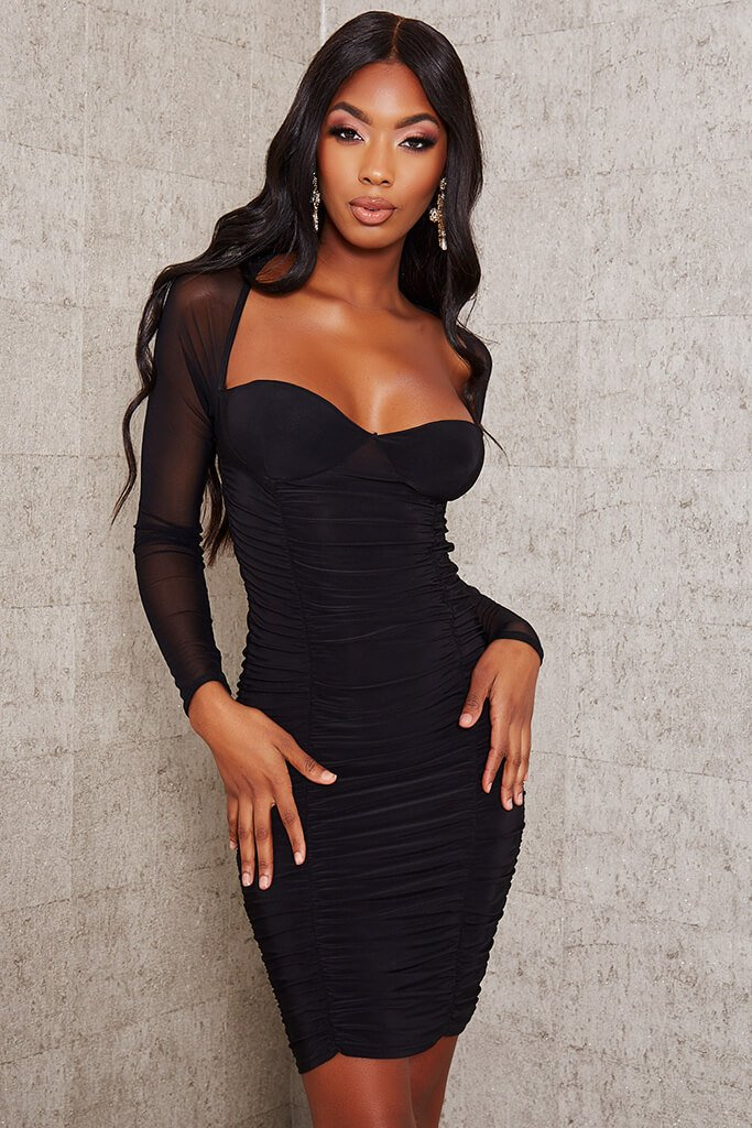 Black bodycon dress with sleeves
