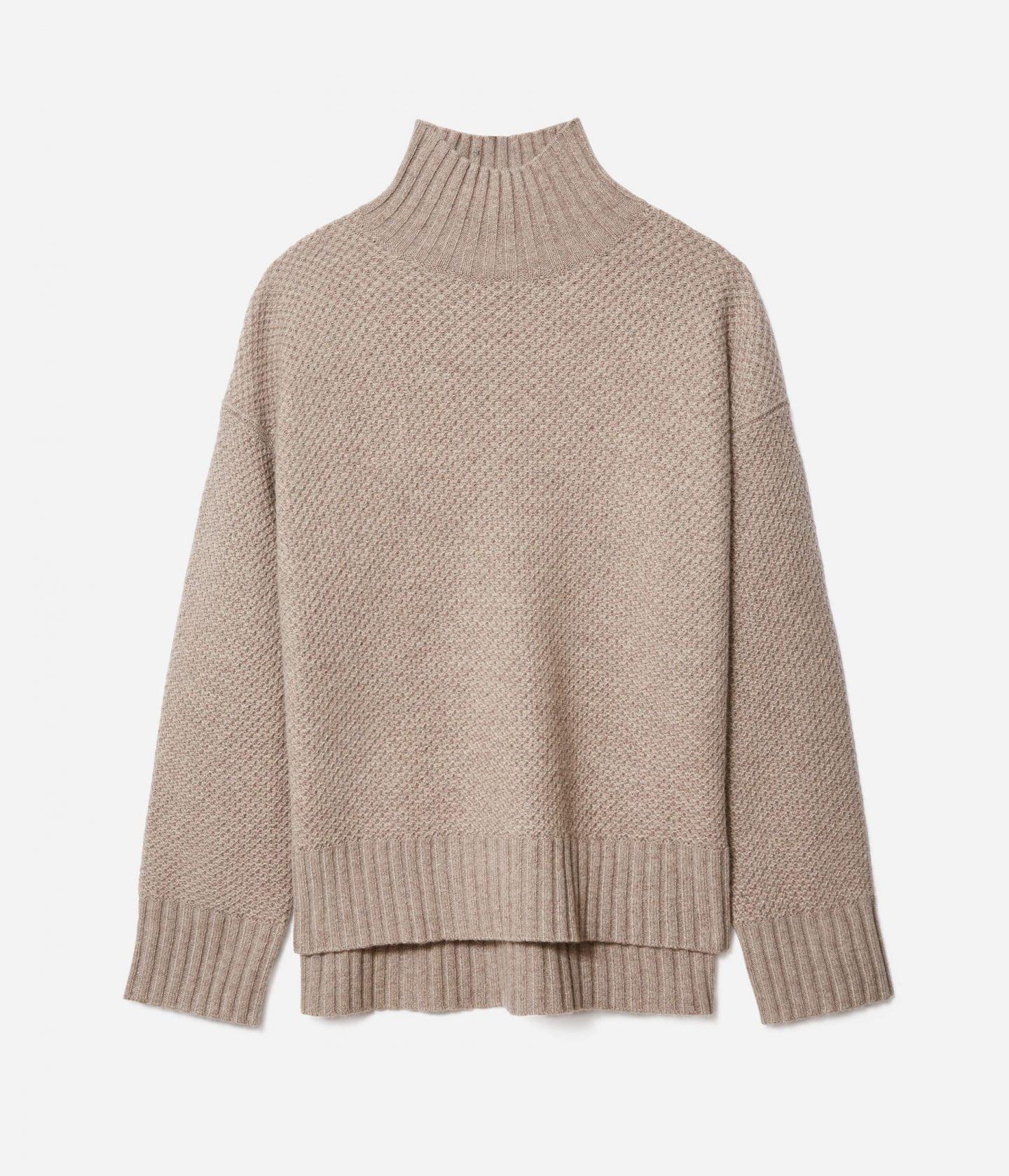 Sustainable tan turtleneck sweater