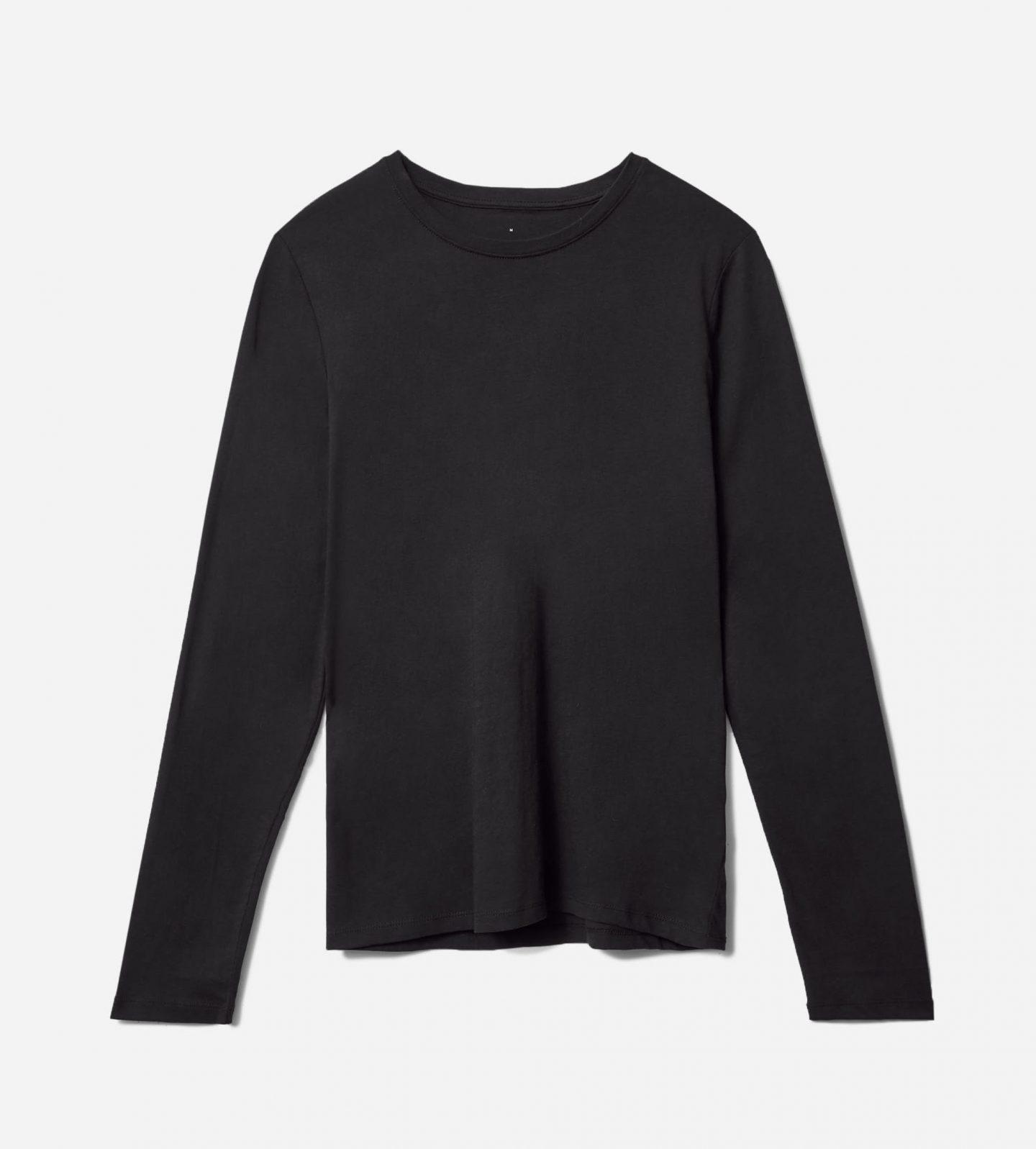 Sustainable black long sleeve top