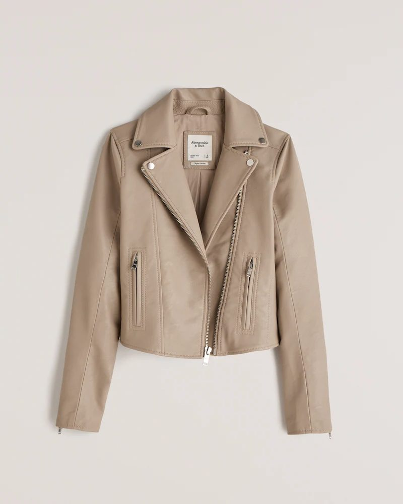 Nude / neutral faux leather jacket