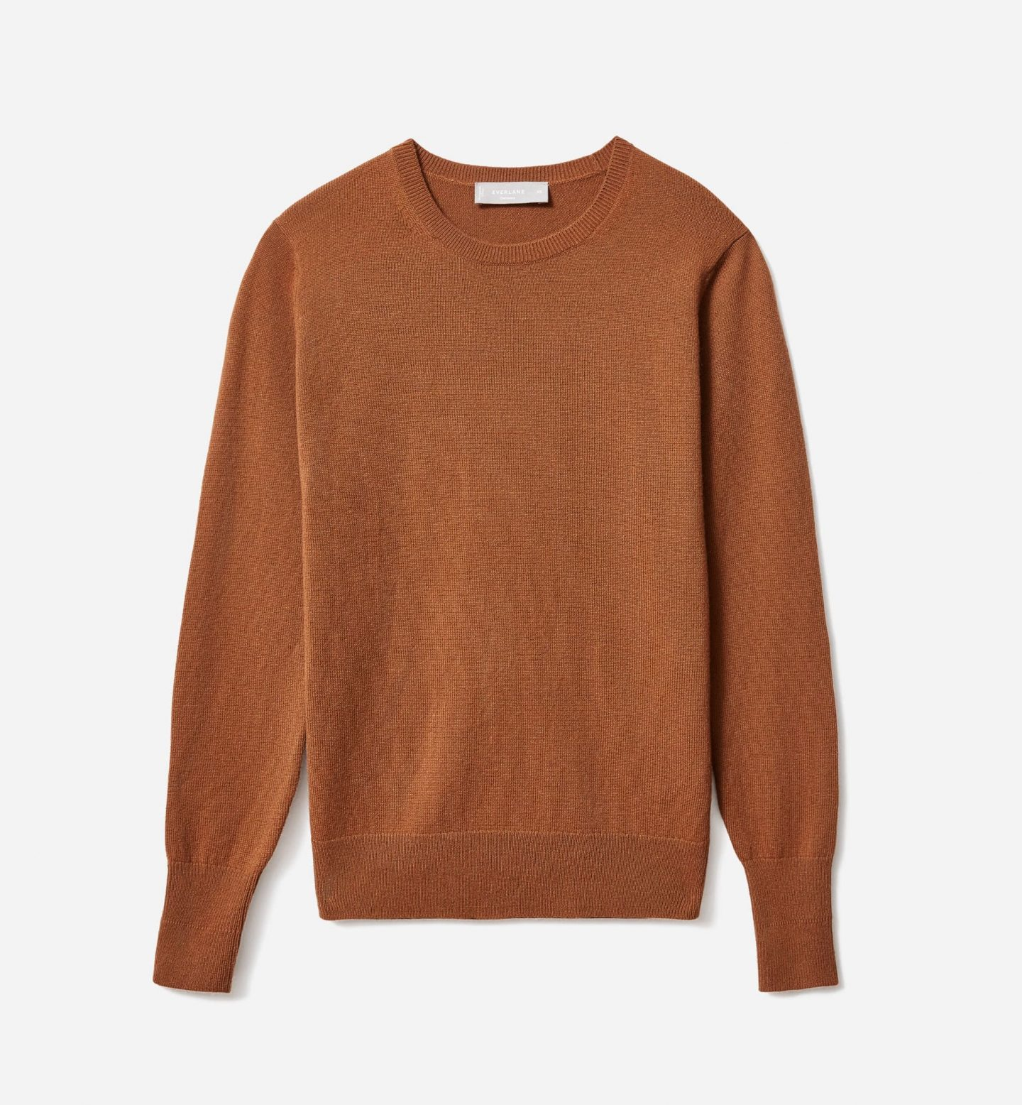 Sustainable camel brown crewneck sweater