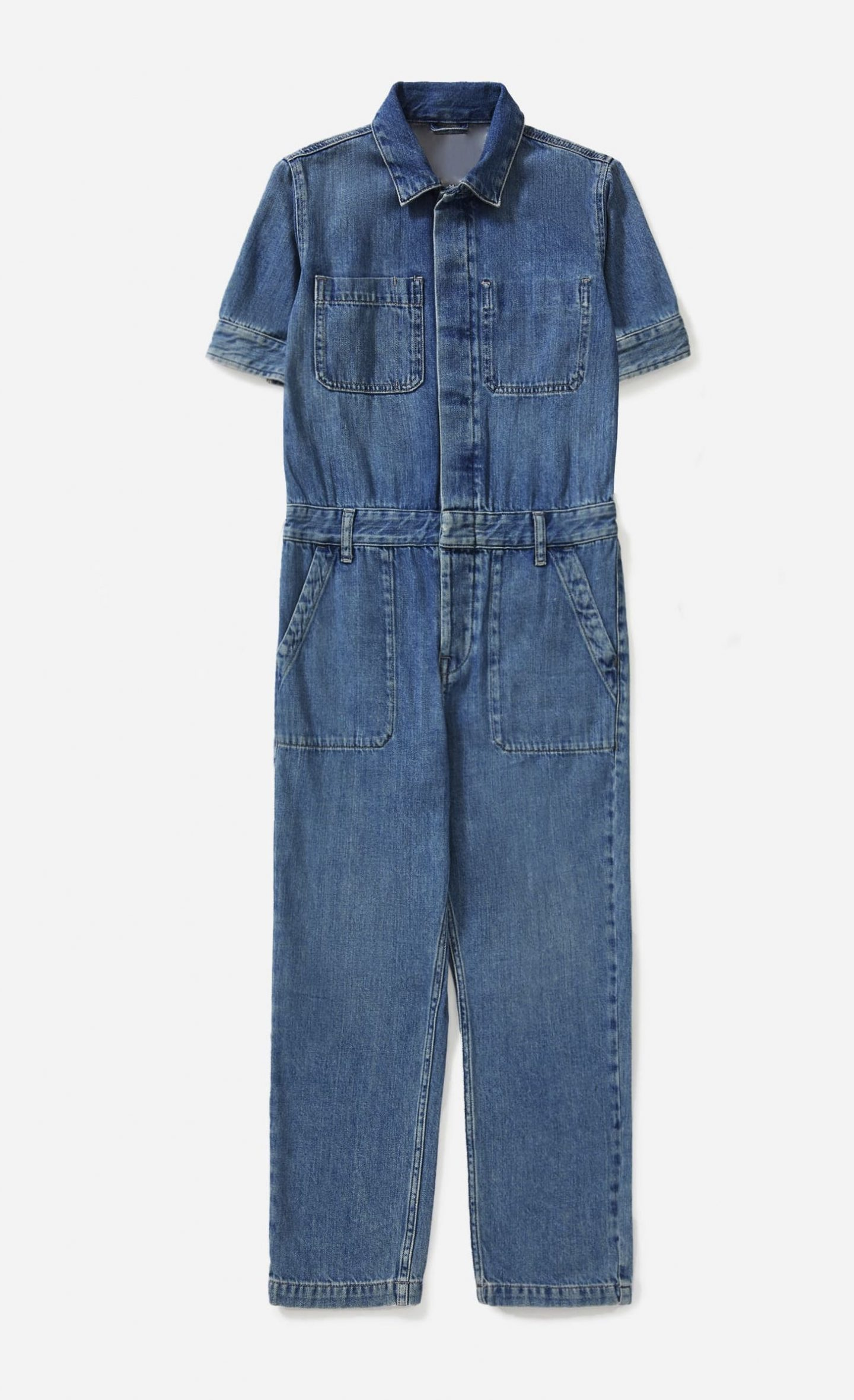 Sustainable denim jumpsuit with sleeves