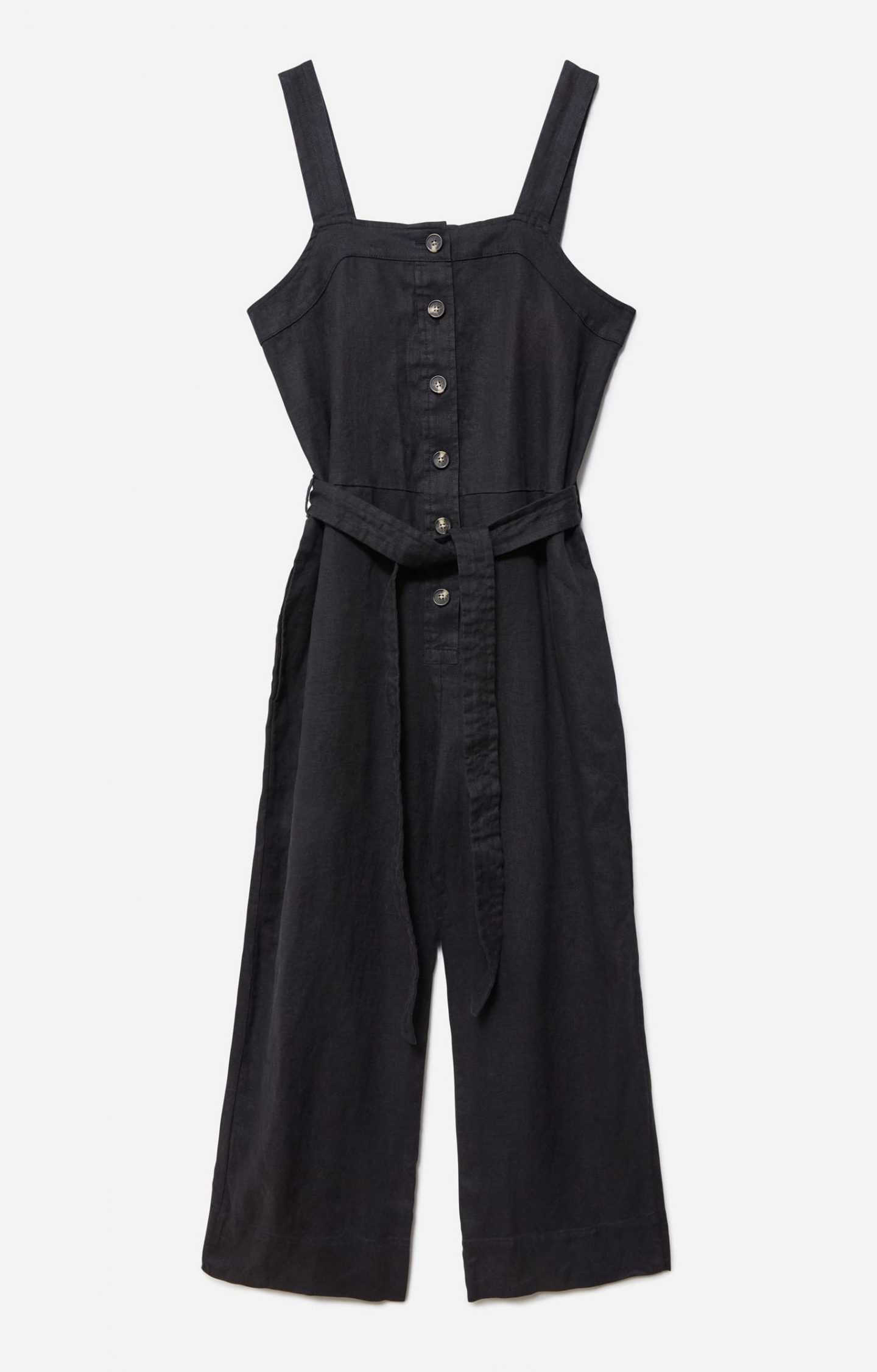 Sustainable black jumpsuit with belt and buttons